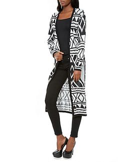 Open-Front Maxi Cardigan Sweater with Geometric Print