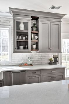 Uplifting Kitchen Remodeling Choosing Your New Kitchen Cabinets Ideas. Delightful Kitchen Remodeling Choosing Your New Kitchen Cabinets Ideas. Grey Kitchen Cabinets, Kitchen Cabinet Design, Kitchen Redo, Interior Design Kitchen, New Kitchen, Kitchen Shelves, Kitchen Backsplash, Dark Cabinets, Backsplash Ideas