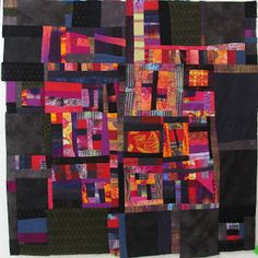 Linda Stokes Textile Artist: Freeform pieced quilt ~ love this approach to piecing, sweetly done. Not quilted yet, but prefer the baroque edge . Strip Quilts, Patch Quilt, Textile Fiber Art, Textile Artists, Textiles, Map Quilt, Linda Stokes, Batik Quilts, Quilt Modernen