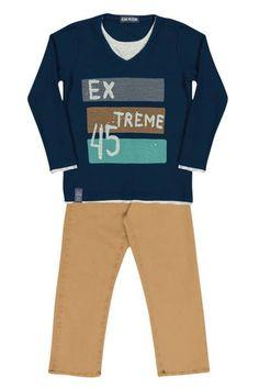Camiseta Extreme com Calça de Sarja.  Tamanhos do 1 ao 4.