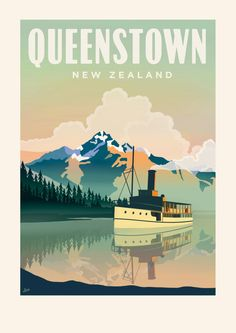 Queenstown Travel Poster featuring the TSS Earnslaw. giclee print on German etching paper. fade resistant and archival quality. Able to ship to UK, USA, Europe. Just send me a message and what size print youre after and ill add a shipping option for you. Retro Poster, Vintage Travel Posters, Poster Poster, Queenstown New Zealand, Posters Australia, Lake Wakatipu, Usa Tumblr, Tourism Poster, Nz Art
