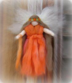 Autumn needle felted fairy  Using New Zealand sheeps wool