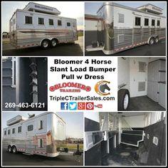 Bloomer 4 Horse Slant Load Bumper Pull w Dress Triple C Trailer Sales