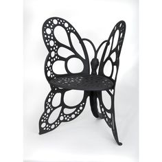 FlowerHouse Black All-Weather Metal Butterfly Outdoor Lounge Chair in Black