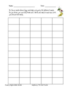 Dr. seuss wrote Green Eggs & Ham using only 50 words. Use the recording sheet to write down the words he used!