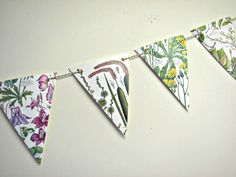 Flower garland ~ British countryside paper bunting ~ Wedding decor ~ Upcycled Eco-friendly gift ~ Tea party flags ~ Wall decor