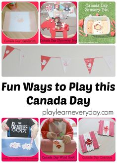 A collection of crafts and sensory activities for young kids to have fun this Canada Day. Kids Learning Activities, Sensory Activities, Educational Activities, Fun Learning, Sensory Bins, Sensory Play, Discovery Box, Kids Outdoor Play, Canada Day