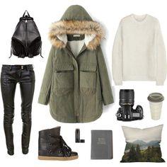 """3blacksheep9;intothewoods"" by blacksheep39 on Polyvore #parka #leatherpants #backpack #travel #comfy #staywarm"