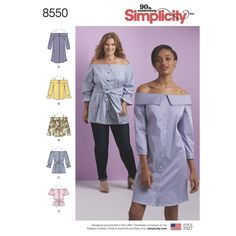 Available in both Misses and Women's sizing, this off-the-shoulder dress, tunic, or top has options that include lapels, bra-friendly straps, tie waist, and a variety of sleeve styles. Simplicity sewing pattern.