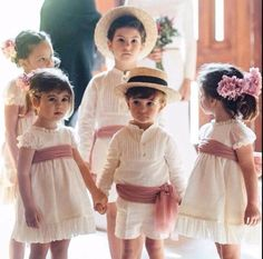 High waisted dress with band (maybe tartan) and flowers in her hair Wedding Dresses For Kids, Wedding With Kids, Wedding Looks, Dream Wedding, Wedding Day, Filipiniana Wedding, Spanish Wedding, Beautiful Bride, Marie