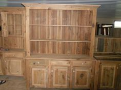 Reclaimed Barn Wood Unfinished China Cabinet With Open Shelf Hutch