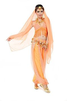 5a8804ed99 Beverly Womens Orange Pants Belly Dance Costume Set 3 Pieces * More info  could be found