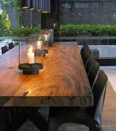 Ocotea Porosa Solid Wooden Dining Table in Black Iron Feet Wooden Dining Table Designs, Glass Dining Table, Wooden Dining Tables, Rustic Table, Dining Room Design, Interior Design Living Room, Timber Table, Wood Table, Small Dining