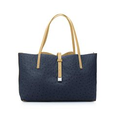 Tiffany, Reversible Tote in Navy and Camel Ostrich