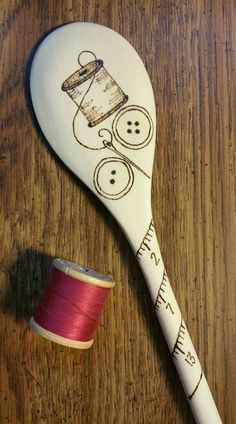 Wood Burned Pyrography Wooden Kitchen Spoon by IndigoSpoons