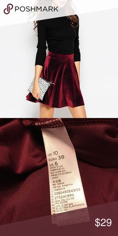 [Topshop] Wine red velvet skirt Gorgeous, red wine skirt.  Small detail on skirt as pictured, fibers go in different direction. Topshop Skirts