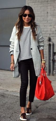 #winter #fashion / gray + red color pop