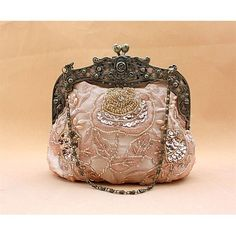 Champagne Beaded Satin Victorian Fashion Wedding Evening Clutch Purses. victorian fashion in the 19 century was very ornate, and detailed. lots of work went into making one of these bags #apuerovictoria