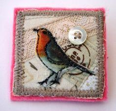 Appliqued Robin brooch