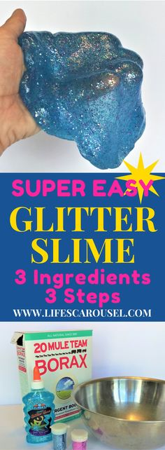 Easy Glitter Slime | 3 simple steps and just 3 ingredients! Fun activity for kids - glitter slime tutorial.