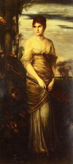 Portrait Of A Lady With A Mandolin, Hermann Kaulbach