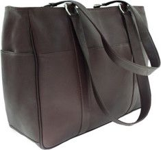 Piel Leather Medium Shopping Bag 8747 - Chocolate Leather with FREE Shipping & Returns. Opens to main inside pockets.Outside pockets and rear zip-pocket.Soft