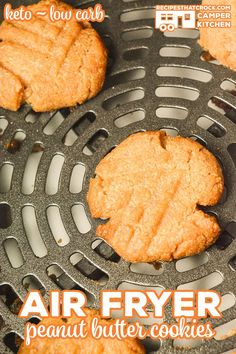 Sugar Free Low Carb Peanut Butter Cookies (Oven or Air Fryer) - Recipes That Crock! - Air Fryer Recipes (Traditional and Ninja Foodi) - Did you know you can make cookies in your air fryer? You can use this method to make our Sugar Fre - Air Fryer Recipes Dessert, Air Fryer Recipes Low Carb, Low Carb Recipes, Peanut Recipes, Easy Recipes, Diet Recipes, Ninja Recipes, Baking Recipes, Crockpot Recipes