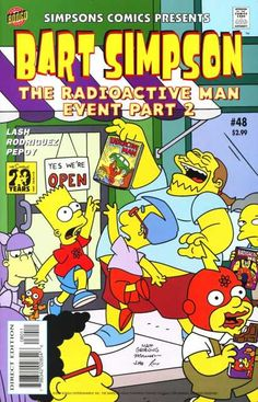 Still during an Radioactive Man celebration, Bart and Milhouse attempts to catch a comic book, which Comic Book Guy holding it, much to his evil laugh.