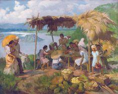 Fernando Amorsolo - Dinner in the Sun 1938 Arte Filipino, Filipino Culture, Filipino House, Filipino Food, Philippine Art, Philippines Culture, Contemporary Artwork, Modern Contemporary, Country Art