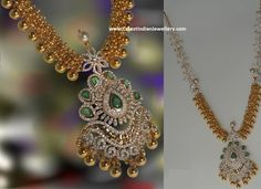 The designer gold bits gundla mala in combination with diamond pendant looks extravagant. The gold balls haram is embellished with diamond floral clasps Gold Earrings Designs, Gold Jewellery Design, Gold Jewelry, India Jewelry, Diamond Jewellery, Necklace Designs, Gold Designs, Designer Jewellery, Gold Necklaces