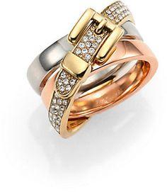 Michael Kors Heritage Buckle Tri-Tone Pavé Crossover Ring