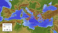 Map of Phoenician and Greek colonies at about 350 BCE (with German legend).