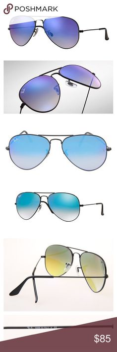 Ray-Ban Aviator Sunglasses Blue Flash Gradient New cool model of ray-ban aviator sunglasses. Stylish black metal frame works great with flash gradient blue lenses. Color is really playful, they can change the color from tan-blue to dark or light blue and even become purple. Made in Italy, original, authentic, come with original case, cloth and box. Ray-Ban Accessories Sunglasses