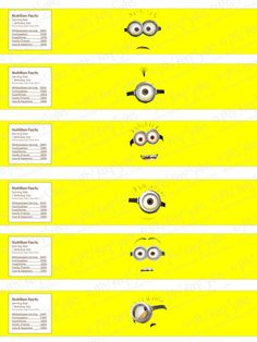 Printable Despicable Me Water Bottle Labels Minion Party Theme, Despicable Me Party, Minion Birthday, Boy Birthday, Party Themes, Party Ideas, Birthday Ideas, Movie Party, I Party