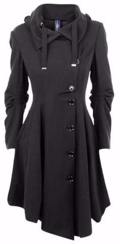 Gothic Asymmetric Black Single Breasted Trench Coat Overcoat
