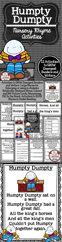 Humpty Dumpty {Nursery Rhyme Activities} | Humpty Dumpty | Nursery Rhyme | Guided Reading Nursery Rhyme    Humpty Dumpty Activities to GROW Emergent Readers and Writers. You will love using this activity packet of Humpty Dumpty Nursery Rhyme to help your students feel confident about reading!