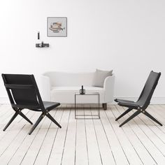 Gorgeous leather folding chairs by Danish firm By Lassen. Also in pale and brown leather, at shopkontrast.com.