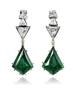 Ara Vartanian Emerald drop earrings with triangle-cut diamonds in white and rose gold