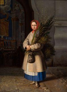 Lithuanian Girl with Palm Sunday Fronds | Kanutas Ruseckas | 1844 | Lithuanian Art Museum | Public Domain