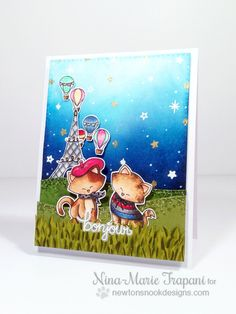 Moonlight Lovers card by Nina-Marie Trapani | Newton Dreams of Paris Stamp Set by Newton's Nook Designs #newtonsnook