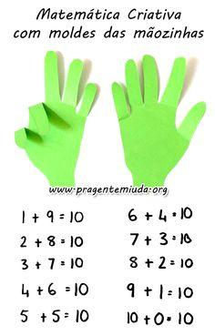 Como trabalhar matemática com molde das mãos Christmas Crafts, Crafts For Kids, Teaching, Portuguese, Decor, Alphabet Games, School Routines, Activities