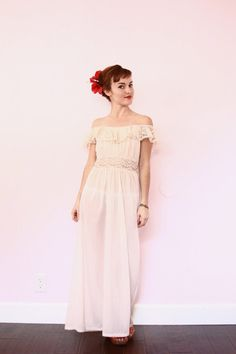 Vintage Soft Pink Nightie  Off the Shoulder Maxi Dress  by xYATESx