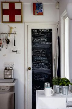 Chalkboard paint on pantry door. Great idea for running grocery list or weekly menu.