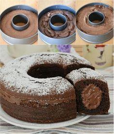 Ciambella panna e Nutella Sweet Recipes, Cake Recipes, Dessert Recipes, Nutella Recipes, Chocolate Recipes, Italian Desserts, Italian Recipes, Italian Food Names, Popular Italian Food