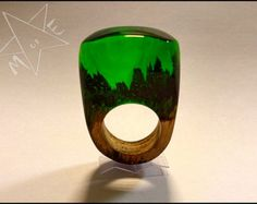 Wood resin ring wooden secret rain forest jewellery natural