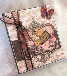 TPHH Handmade Waterfall Mini Scrapbook Album Premade Butterfly Mariposa SWAK #DCWV