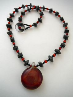 Blown glass pendant necklace on leather and glass beaded chain by Riverhouse Glass.  j-243  sold