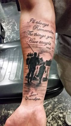 101 Best Family Tattoos For Men: Meaningful Designs + Ideas Guide) Grandfather Tattoo, Grandpa Tattoo, Daddy Tattoos, Father Tattoos, Grandfather Memorial Tattoos, Dad Memorial Tattoos, Dad Tattoo In Memory Of, Father Son Tattoo, Good Family Tattoo