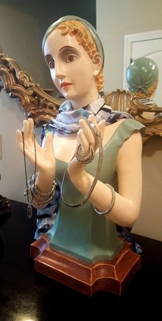 """27"""" DECO STYLE WOMAN MANNEQUIN HEAD BUST HAND HAT JEWELRY SCARF WIG DISPLAY #unknown"""