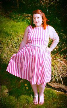 pink white candy stripe vintage style plus size lindy bop dress